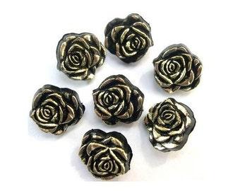 6 Vintage buttons, plastic, black rose flower shape gold color trim -choose size