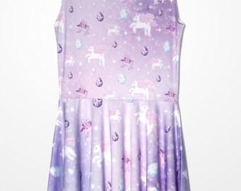 Unicorn Dress Pegasus Pony Pastel Fairy Kei Lolita Pastel Galaxy Dress Stars Universe Skater Dress Size XS Through 5XL *Made to Order*