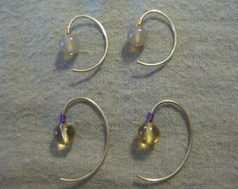Silver Beaded Ear Wire Earrings