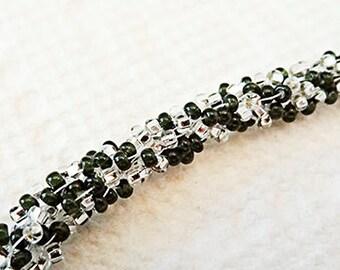 KUMIHIMO BRACELET, black bracelet, white bracelet, kumihimo jewelry, black jewelry, white jewelry, black and white, bracelet, toggle - 0882