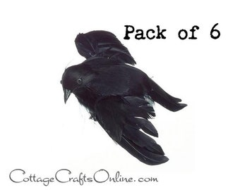 """Black Crow, Small, Feathered Flying, 4.75"""" long, SET OF SIX, Halloween Embellishment, Decor, Wreath & Floral Supply Faux Bird Raven"""