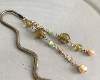 Olive Green Shepherds Hook Bookmark Beaded Dangle Book Club Teacher Gift
