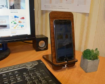 Monogrammed Phone Stand - Charging Station - Cell Phone Stand - Docking Station - Gift for Him - Phone Holder - Phone Stand Wood -Tech Gift