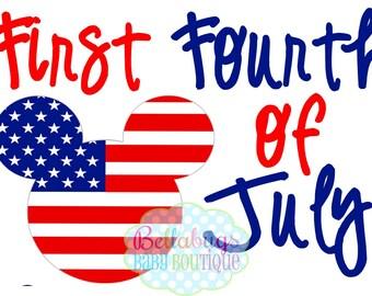 Premier quart de juillet fer transfert - Amérique - Mickey Mouse - jour de l'indépendance