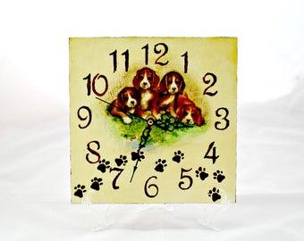 Kids Wall Clock cute puppies