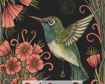 Hummingbird Cross Stitch, Anita Inverarity 'Jewel', Cross Stitch Kit, DMC Materials, Counted Cross-Stitch, Bird Cross Stitch, Point De Croix