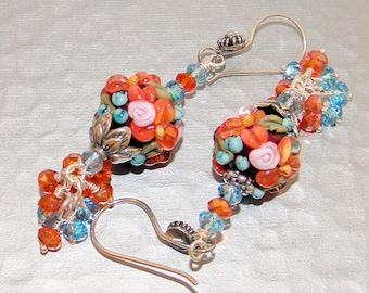 Boucle d'oreille avec perles de Murano, cristaux de Swarovski boucles d'oreilles, boucles d'oreilles en argent Sterling, cadeau de Noël, boucles d'oreilles fleur