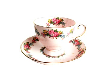 Vintage Tea Cup Saucer Tuscan Pink Floral Fine English Bone China Tea Cup and Saucer