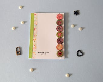 Stripes and buttons Missing You card