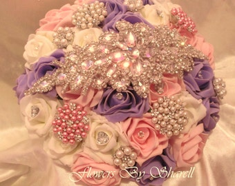 Wedding Flowers Pink Lilac Ivory Wedding Bouquet Lilac Pink Ivory Brides Brooch Posy Bouquet