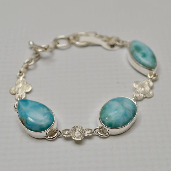 Sterling Silver Three Stone Larimar with Design Bracelet #7152