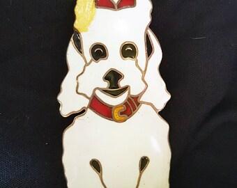 Margot DeTaxco Brooch Poodle Design #5686 Sterling Silver Enamel Pin Vintage