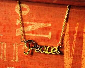 Collar Peace chapa de oro 14 k