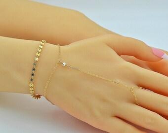 Dainty Pearl Bracelet, Delicate Chain Bracelet, Gold Bracelet, Freshwater Pearl Bracelet, Wedding Jewelry