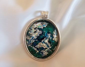 Teal and Silver Dichroic Glass Pendant