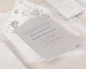 Wedding Invitation, Minimalist Wedding Invitation, Modern wedding invitation, Cotton Wedding Invitation, Invitation Set - SAMPLE Rose Suite