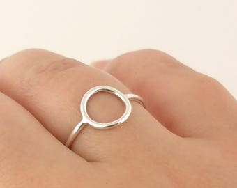 Hollowed circle - ring ring ring in sterling silver ring. Minimalist ring