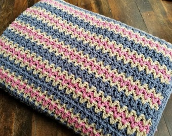 Striped Afghan in Blue, Pink & White - Crochet Throw Blanket