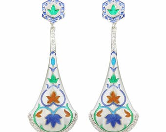Sterling Silver Long Drop Earrings, Meenakari Dangle Earrings, Silver Enamel Earrings, Women's Day Gift, Gift for Her, Gift for Women