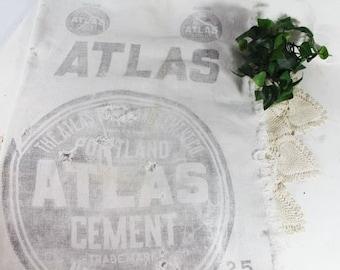 Atlas Cement Cloth 'Bag', Vintage advertising, Portland Atlas Cement, Atlas Bag Factory, New York