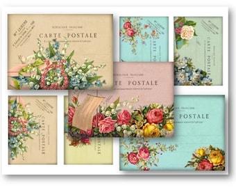 Floral French Carte Postale Digital Collage Sheet Download -  42  - Digital Paper - Instant Download Printables