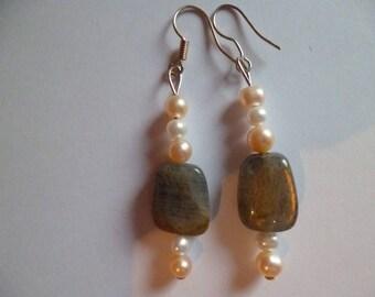 Labradorite and river Pearl Earrings