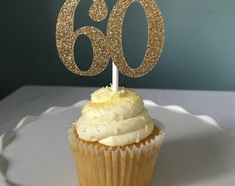 60 Cupcake Toppers, 60th Birthday Cupcake Toppers, Sixty Cupcake Toppers, Sixtieth Birthday, Sixty Birthday Cupcakes, 60 Anniversary