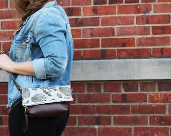 Cactus Cross Body Bag. Southwestern handprinted bag. Lightweight faux leather purse. Cactus Print Bag. Vegan cross body bag
