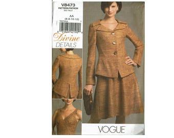 Vogue 8473 Divine Details OOP UNCUT sizes 6 8 10 12 Misses Jacket and Dress Seam details sewing pattern