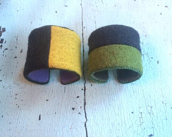 Nubby Woolly Color Block Adjustable Cuffs