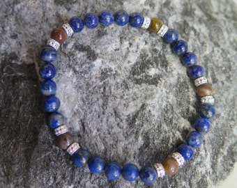 Lapis Lazuli Bracelet 6 mm with Petrified Wood and 925 Silver