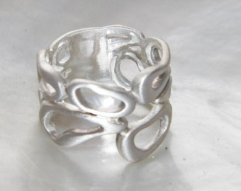 Hand Made 925 Sterling Silver Woman's Freeform Fashion Ring Unique Band Satin Finished