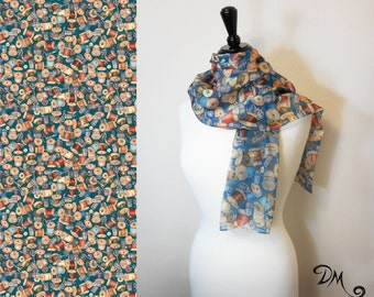 Sewing Quilting themed Scarf by Dan Morris, novelty scarves , 100% Polyester Chiffon