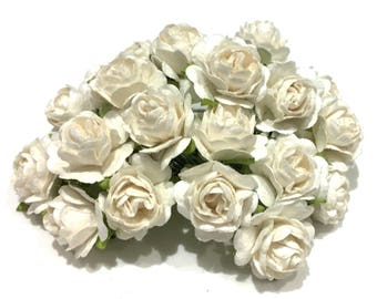 White Open Mulberry Paper Roses Or066