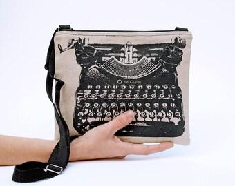 Typewriter Cross body bag book sleeve crossbody purse canvas bag literary gifts shoulder bag crossbody bags crossover purse librarian