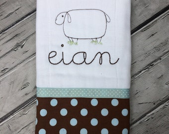 Baby Burp Cloth, Burpie, Baby Accessories, Vintage Sheep Burp, Personalized Burp Cloth, Baby Shower Gift, New Baby Gift.