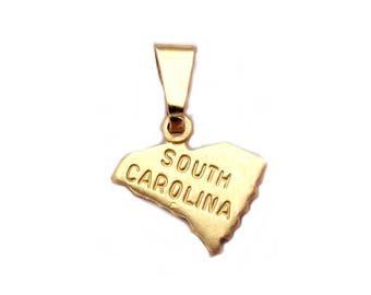 2 South Carolina  State Charms Tiny Raw Brass with Bail