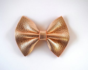 Blush Rose Gold Metallic Leather Bow Clip for Newborn Baby Little Girl Child Photo Prop Holiday Easter Summer Holiday Pictures
