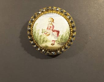 19th Century enamel hand painted button.