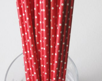 25 Paper Red with White Polka Dot Drinking Straws - Free Printable Straw Flags