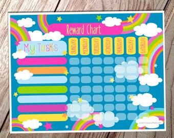 Kids Reward Chart - Rainbows- Instant Download
