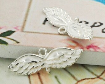 2 of 925 Sterling Silver Angel Wing  Links, Connectors 5x20 mm :th2136