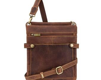 VISCONTI Slim Leather Bag - Distressed Tan Leather Bag - Cross Body Bag - Handmade Leather Bag - Neo (S) - Hunters Collection - 18511