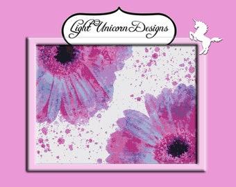 Pink and Purple Daisies Cross Stitch Pattern