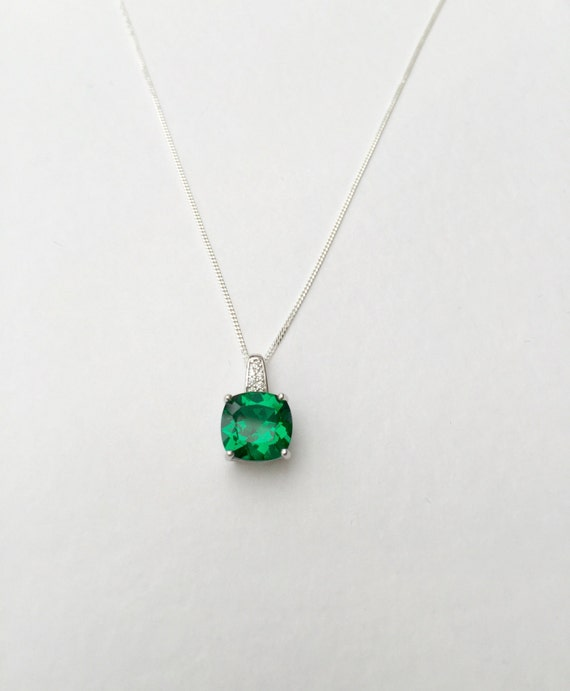 Emerald necklace 3ct emerald pendant 925 sterling silver aloadofball Images