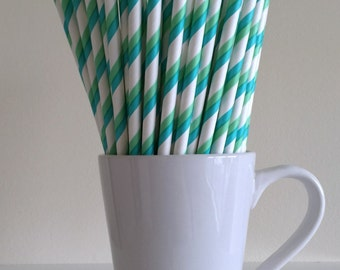 Teal and Green Striped Paper Straws Aqua and Sea Foam Green Party Supplies Party Decor Bar Cart Cake Pop Sticks Mason Jar Straws Graduation
