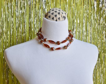Vintage 1960s Double-Strand Root Beer Brown Choker Necklace