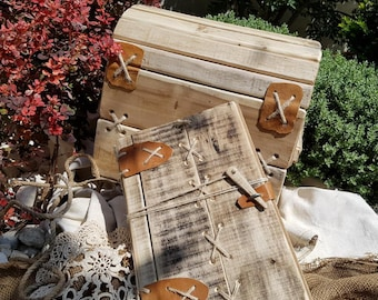 Wedding album, guest book in Stone Age, Flintstones family style.Rustic, recycled wood.