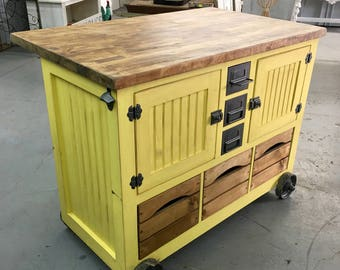 Industrial Style Small Kitchen Island with Tons of Storage with File Cabinet Metal Drawers