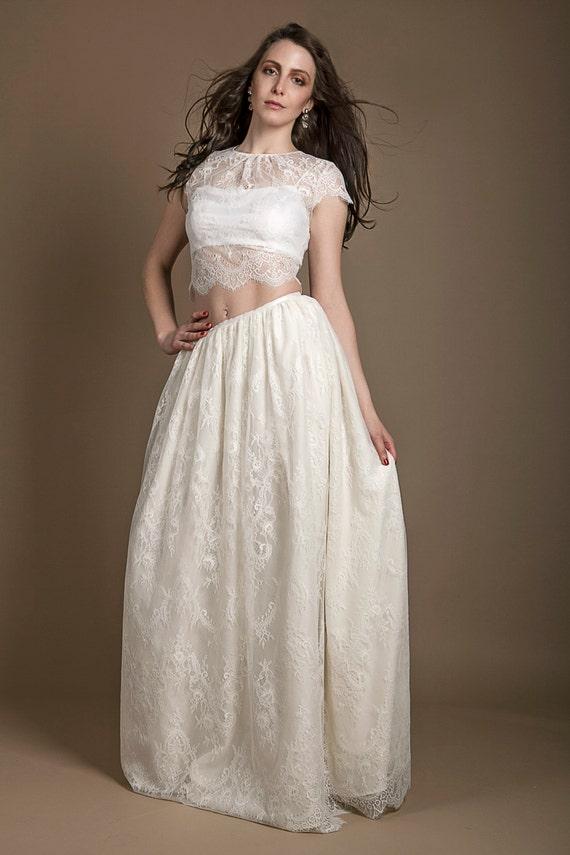 Chantilly lace bridal crop top ivory lace bridal top cap